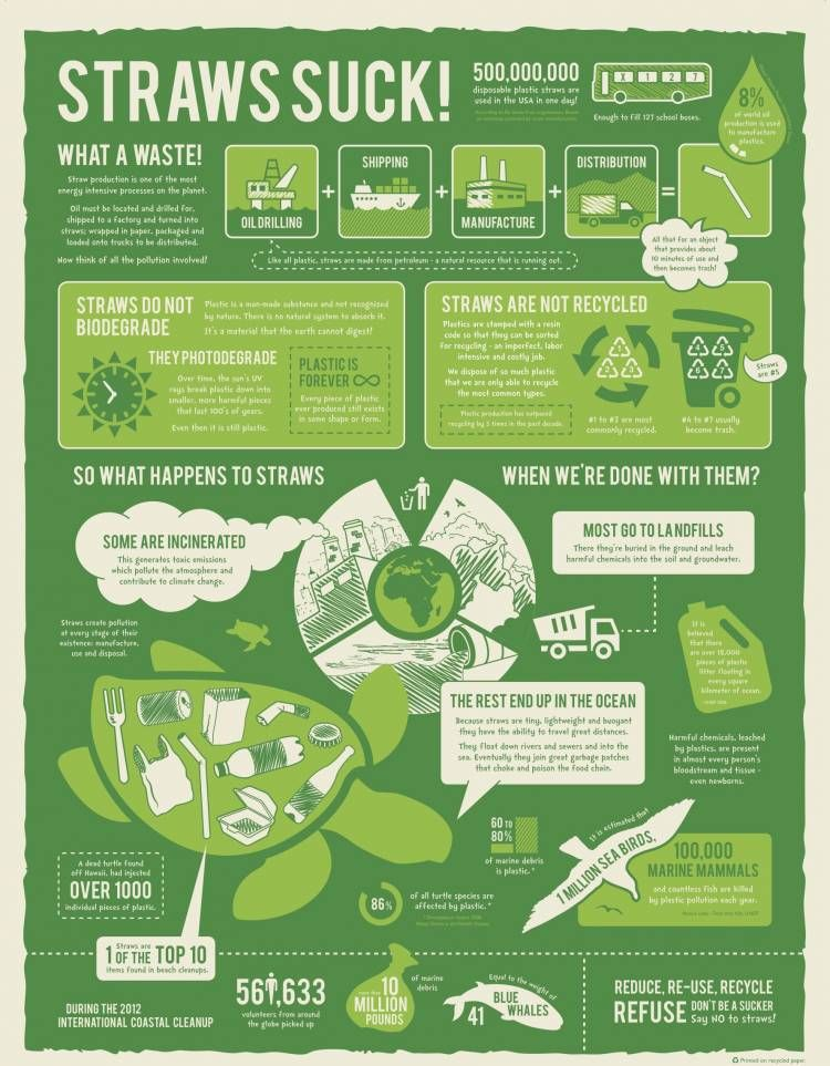 no plastic straw footprint infographic