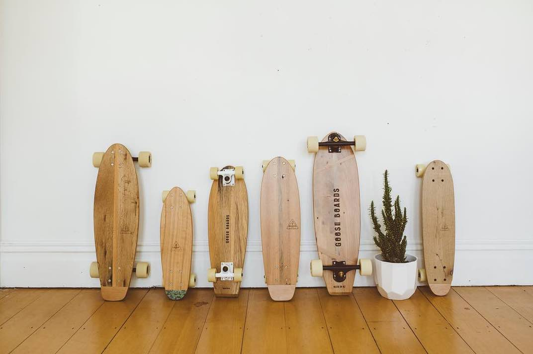 goose boards upcycled handmade wooden cruiser skateboard collection